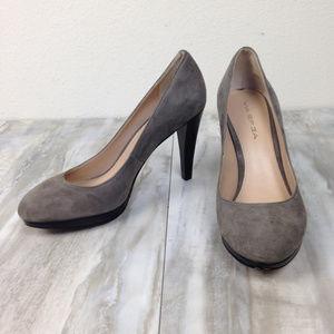 Via Spiga Grey Leather Suede Heels 7.5